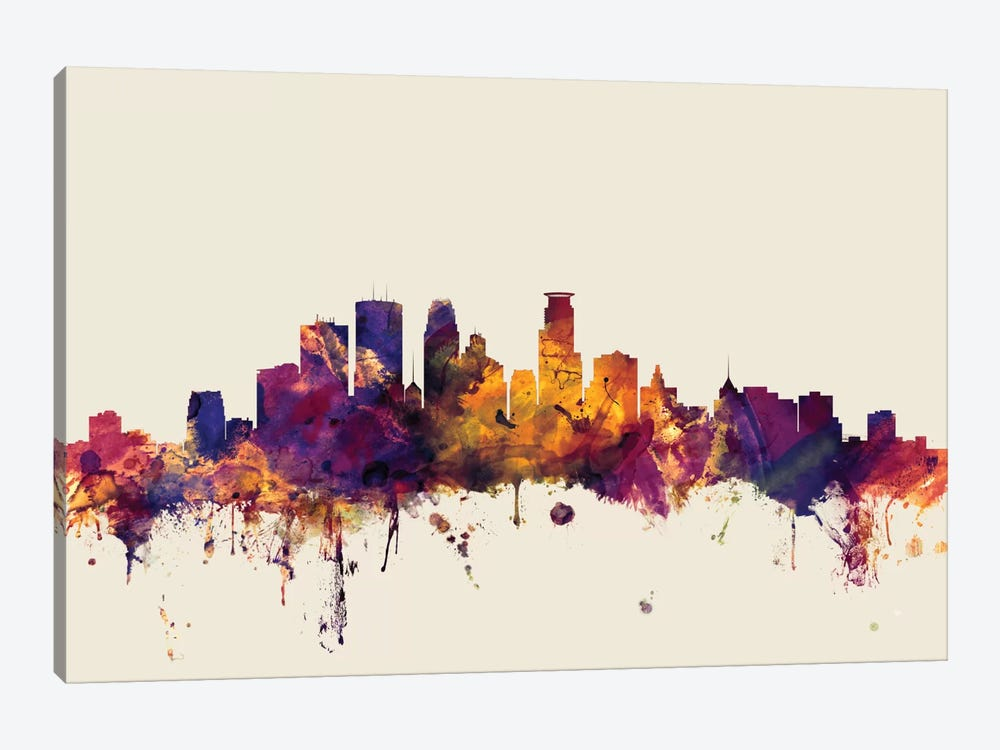 Minneapolis, Minnesota, USA On Beige 1-piece Canvas Art Print
