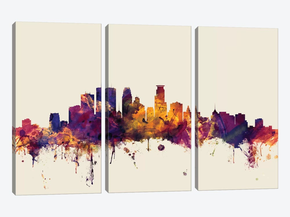Minneapolis, Minnesota, USA On Beige by Michael Tompsett 3-piece Art Print