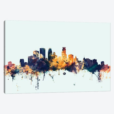 Minneapolis, Minnesota, USA On Blue Canvas Print #MTO347} by Michael Tompsett Art Print