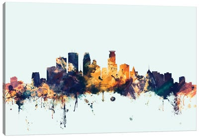 Skyline Series: Minneapolis, Minnesota, USA On Blue Canvas Print #MTO347