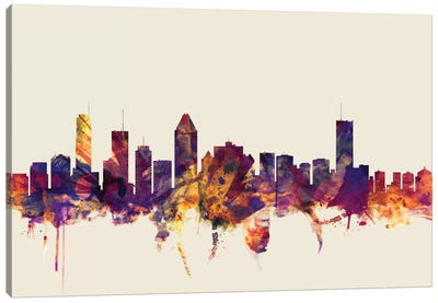 Skyline Series: Montreal, Canada On Beige Canvas Art Print