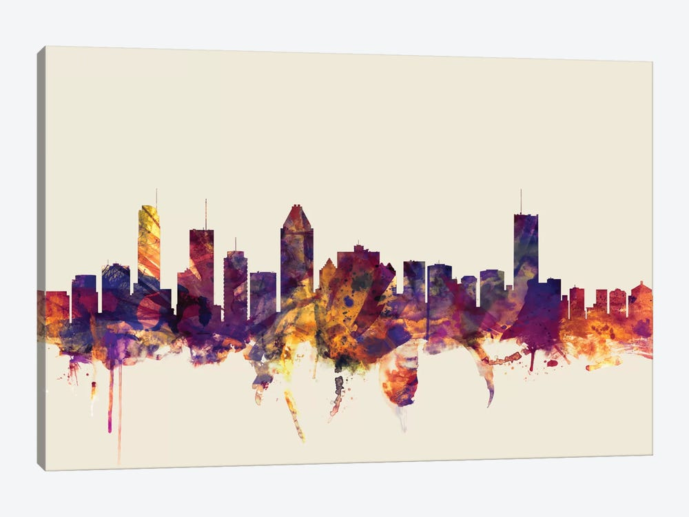 Skyline Series: Montreal, Canada On Beige by Michael Tompsett 1-piece Canvas Art Print