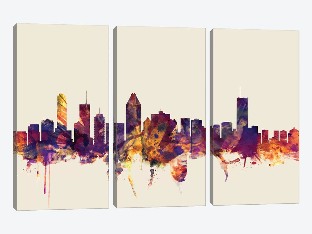 Skyline Series: Montreal, Canada On Beige by Michael Tompsett 3-piece Canvas Print