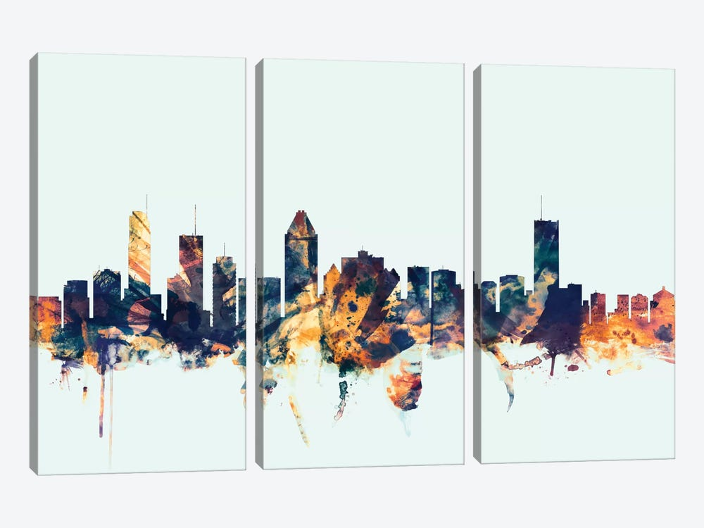 Skyline Series: Montreal, Canada On Blue by Michael Tompsett 3-piece Canvas Wall Art