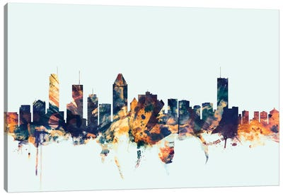 Montreal, Canada On Blue Canvas Art Print