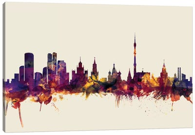 Skyline Series: Moscow, Russian Federation On Beige Canvas Print #MTO350