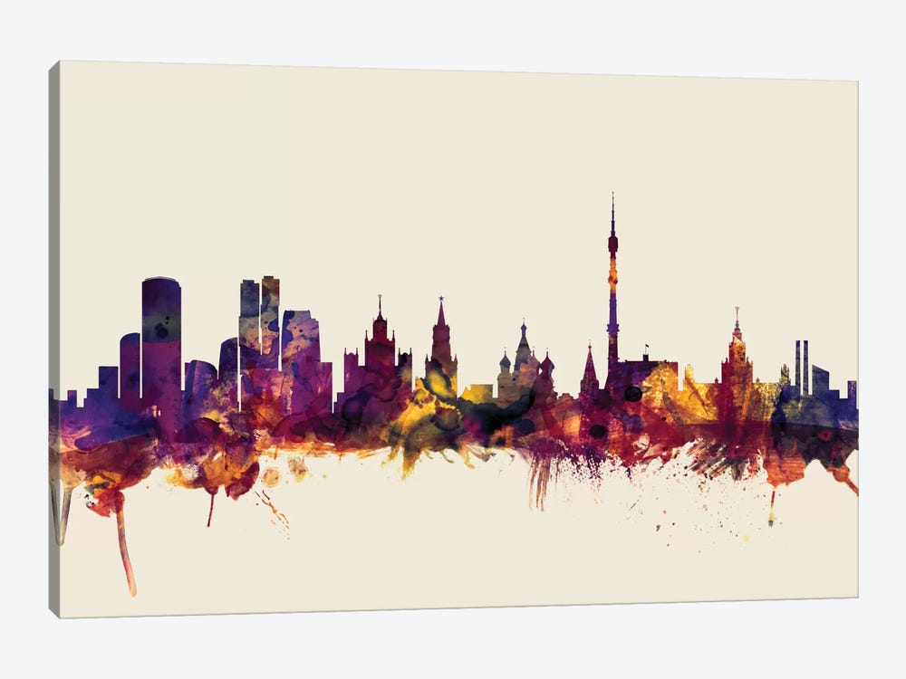 Skyline Series: Moscow, Russian Federation On Beige by Michael Tompsett 1-piece Canvas Wall Art