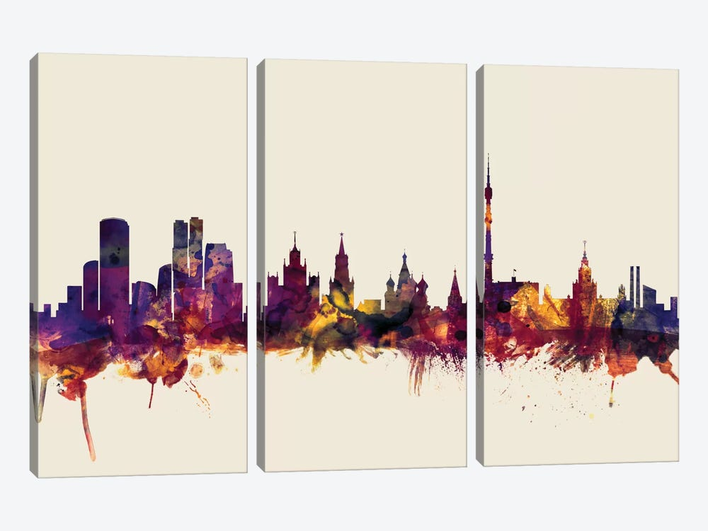 Skyline Series: Moscow, Russian Federation On Beige by Michael Tompsett 3-piece Canvas Wall Art