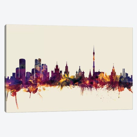 Moscow, Russian Federation On Beige Canvas Print #MTO350} by Michael Tompsett Art Print
