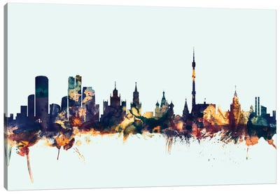 Skyline Series: Moscow, Russian Federation On Blue Canvas Print #MTO351