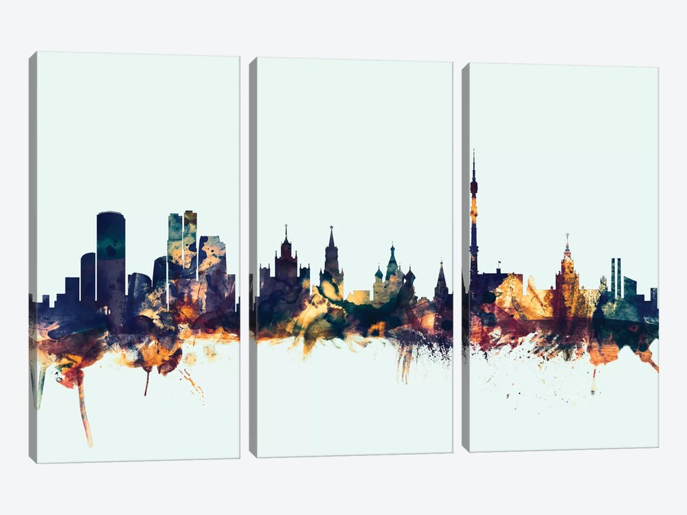 Moscow, Russian Federation On Blue by Michael Tompsett 3-piece Canvas Art Print