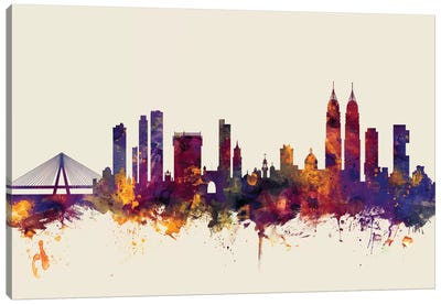 Skyline Series: Mumbai (Bombay), India On Beige Canvas Print #MTO352