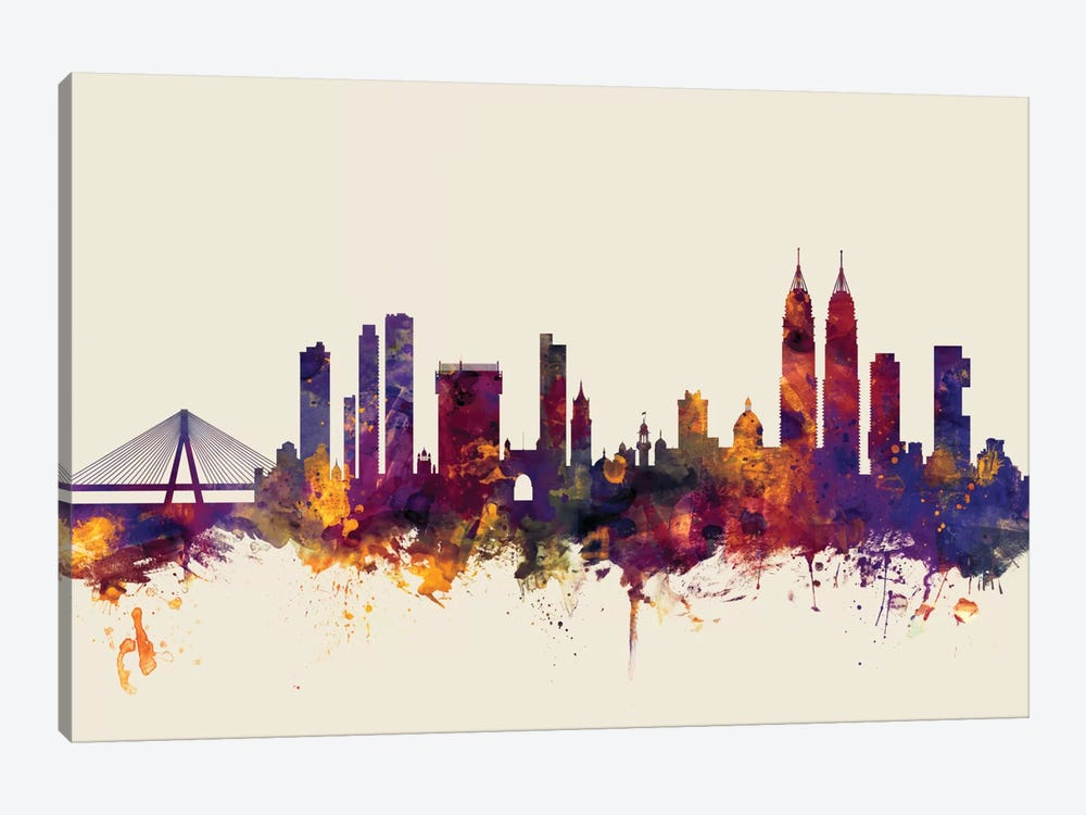 Skyline Series: Mumbai (Bombay), India On Beige by Michael Tompsett 1-piece Canvas Artwork