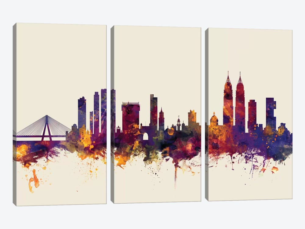Skyline Series: Mumbai (Bombay), India On Beige by Michael Tompsett 3-piece Canvas Art