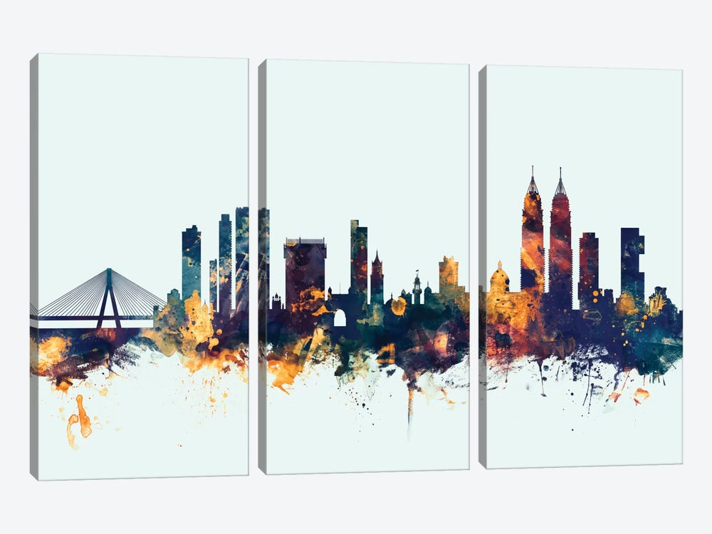 Mumbai (Bombay), India On Blue by Michael Tompsett 3-piece Art Print