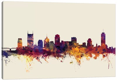 Skyline Series: Nashville, Tennessee, USA On Beige Canvas Art Print