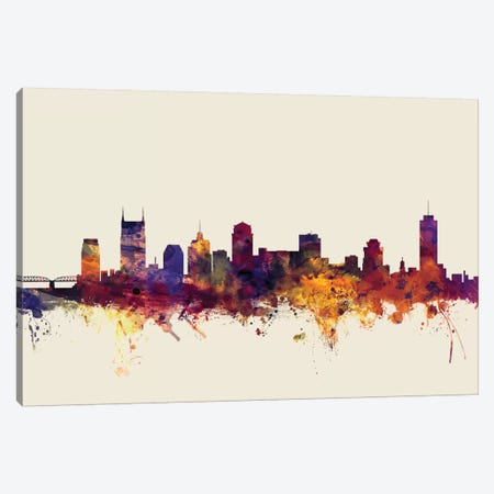 Nashville, Tennessee, USA On Beige 3-Piece Canvas #MTO354} by Michael Tompsett Canvas Wall Art
