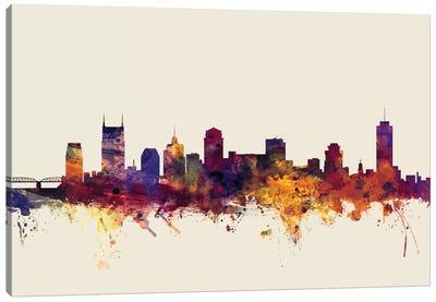 Nashville, Tennessee, USA On Beige Canvas Art Print