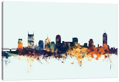 Skyline Series: Nashville, Tennessee, USA On Blue Canvas Art Print