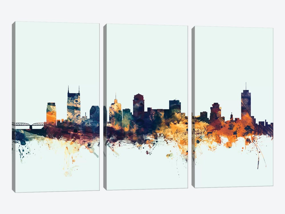 Nashville, Tennessee, USA On Blue by Michael Tompsett 3-piece Canvas Print