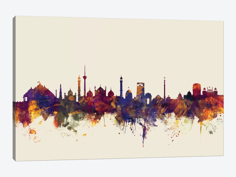 New Delhi, India On Beige by Michael Tompsett 1-piece Canvas Wall Art