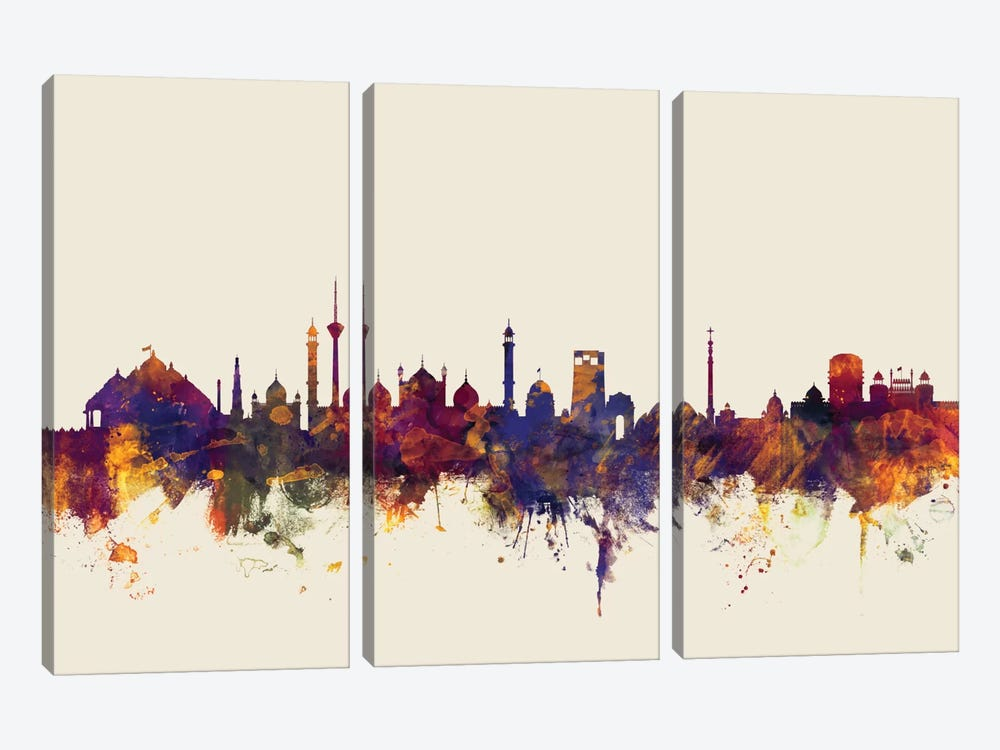New Delhi, India On Beige by Michael Tompsett 3-piece Canvas Wall Art