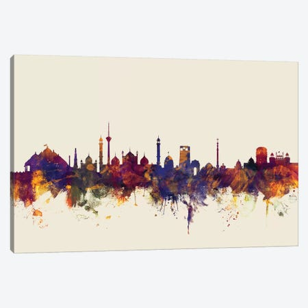 New Delhi, India On Beige Canvas Print #MTO356} by Michael Tompsett Canvas Wall Art