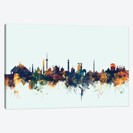 New Delhi, India On Blue Canvas Print #MTO357} by Michael Tompsett Canvas Wall Art