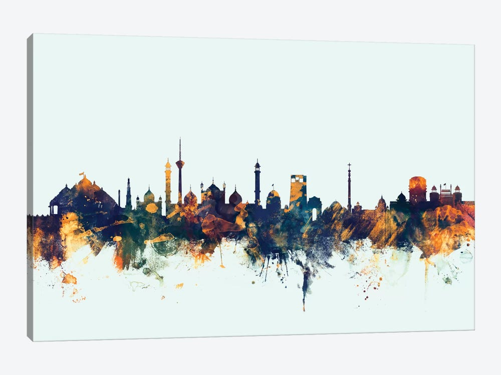 New Delhi, India On Blue by Michael Tompsett 1-piece Art Print