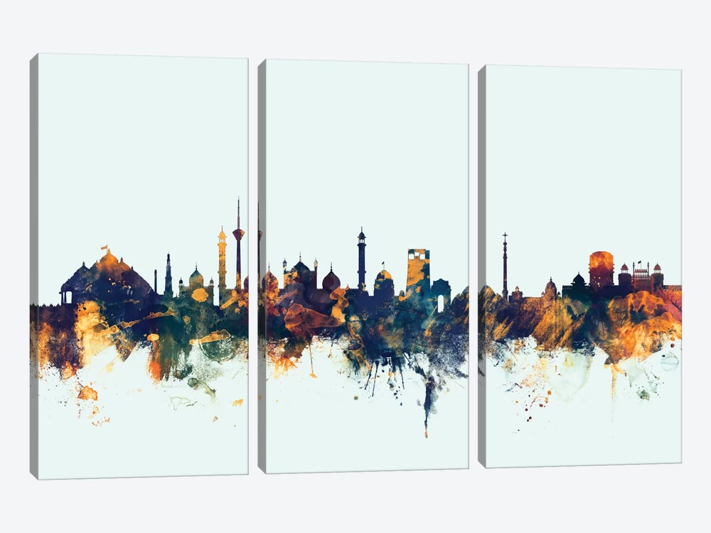 New Delhi, India On Blue by Michael Tompsett 3-piece Canvas Print