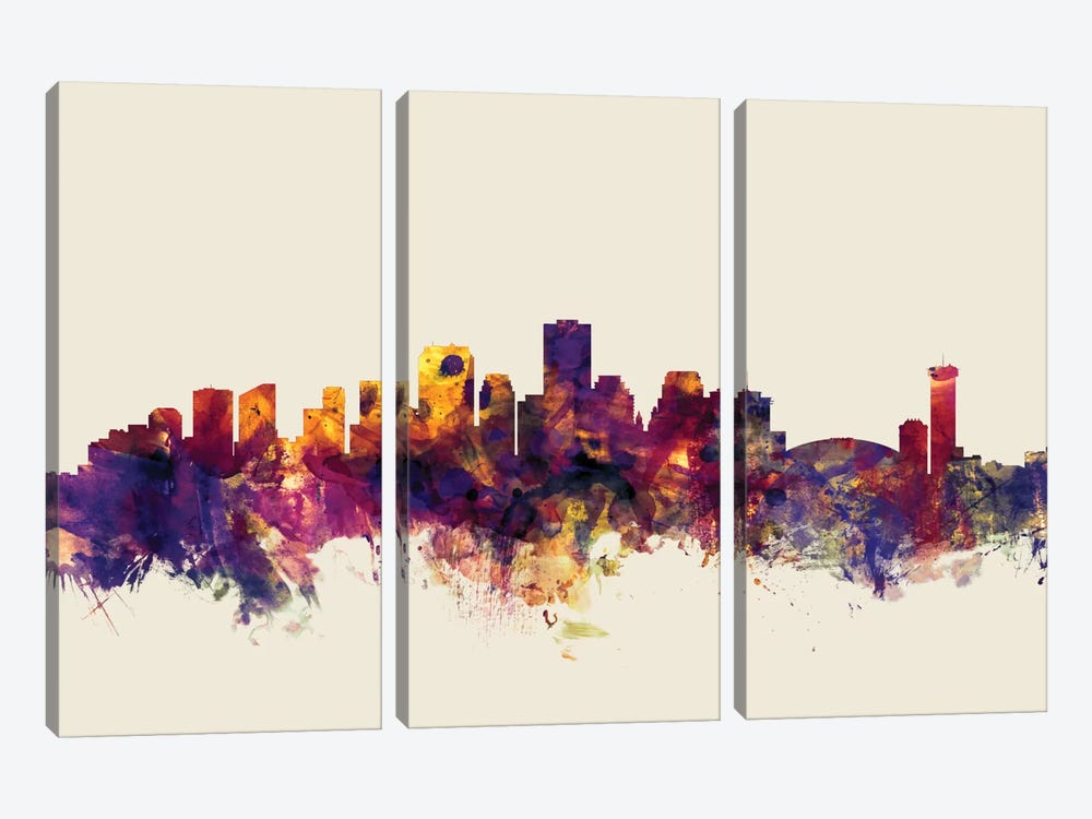 New Orleans, Louisiana, USA On Beige by Michael Tompsett 3-piece Canvas Wall Art