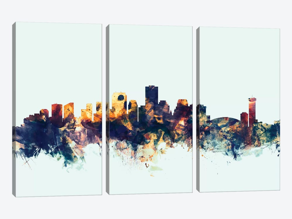 Skyline Series: New Orleans, Louisiana, USA On Blue by Michael Tompsett 3-piece Canvas Art Print