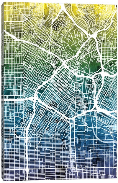 Color Gradient Urban Street Map Series: Los Angeles, California, USA Canvas Print #MTO35