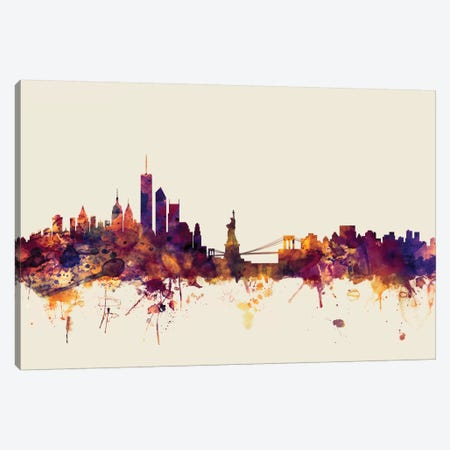 New York City, New York, USA I On Beige Canvas Print #MTO360} by Michael Tompsett Canvas Artwork