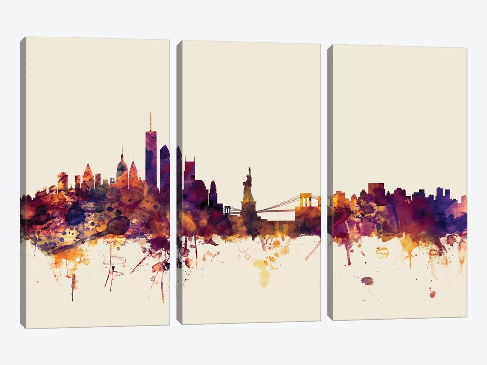 New York City, New York, USA I On Beige by Michael Tompsett 3-piece Canvas Print