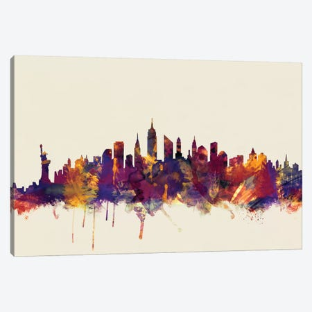 New York City, New York, USA II On Beige Canvas Print #MTO362} by Michael Tompsett Canvas Wall Art