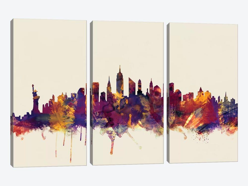 New York City, New York, USA II On Beige by Michael Tompsett 3-piece Canvas Art Print