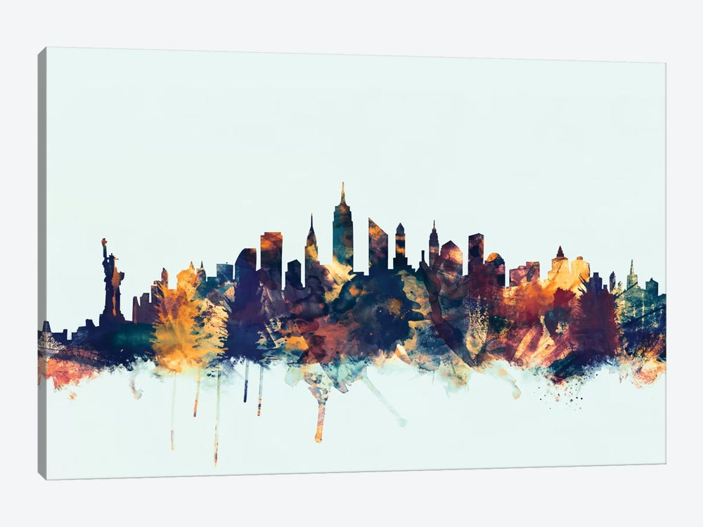 Skyline Series: New York City, New York, USA II On Blue by Michael Tompsett 1-piece Canvas Art