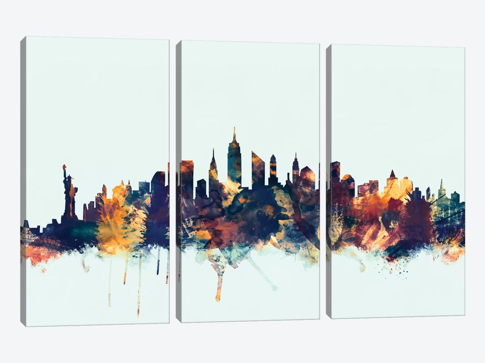 Skyline Series: New York City, New York, USA II On Blue by Michael Tompsett 3-piece Canvas Wall Art