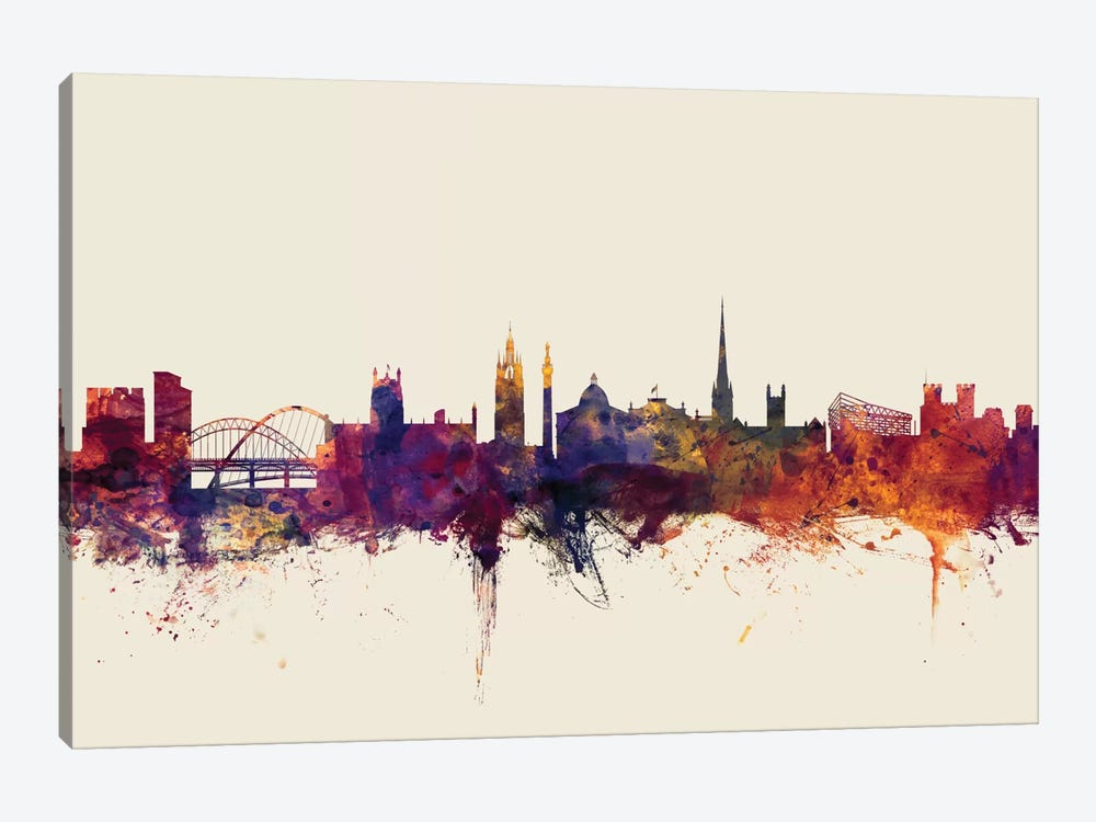 Newcastle, England, United Kingdom On Beige by Michael Tompsett 1-piece Canvas Art Print
