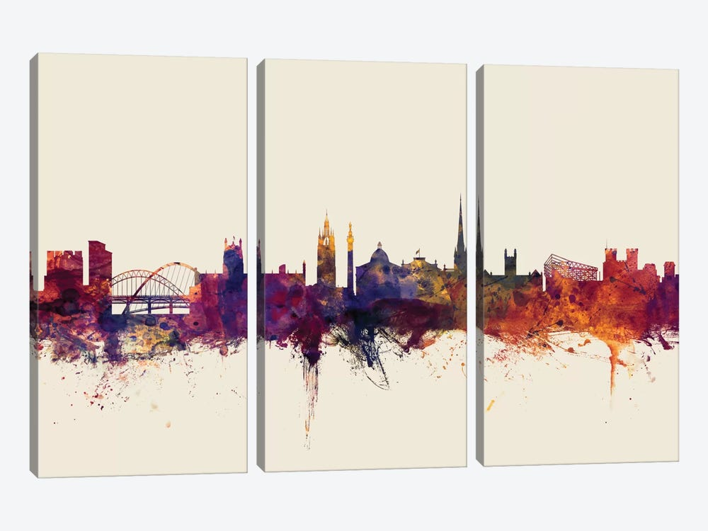 Skyline Series: Newcastle, England, United Kingdom On Beige by Michael Tompsett 3-piece Canvas Print
