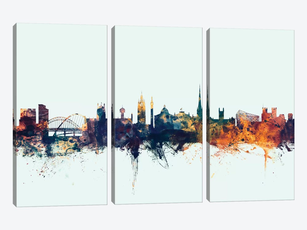 Newcastle, England, United Kingdom On Blue by Michael Tompsett 3-piece Canvas Art