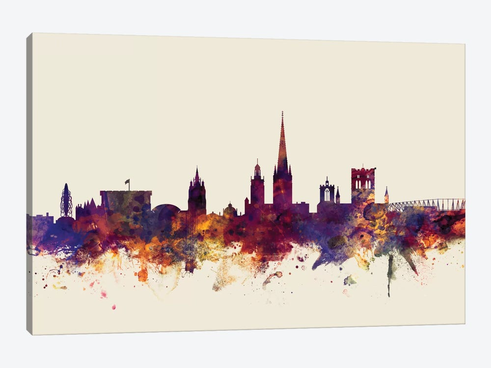 Skyline Series: Norwich, England, United Kingdom On Beige by Michael Tompsett 1-piece Canvas Print
