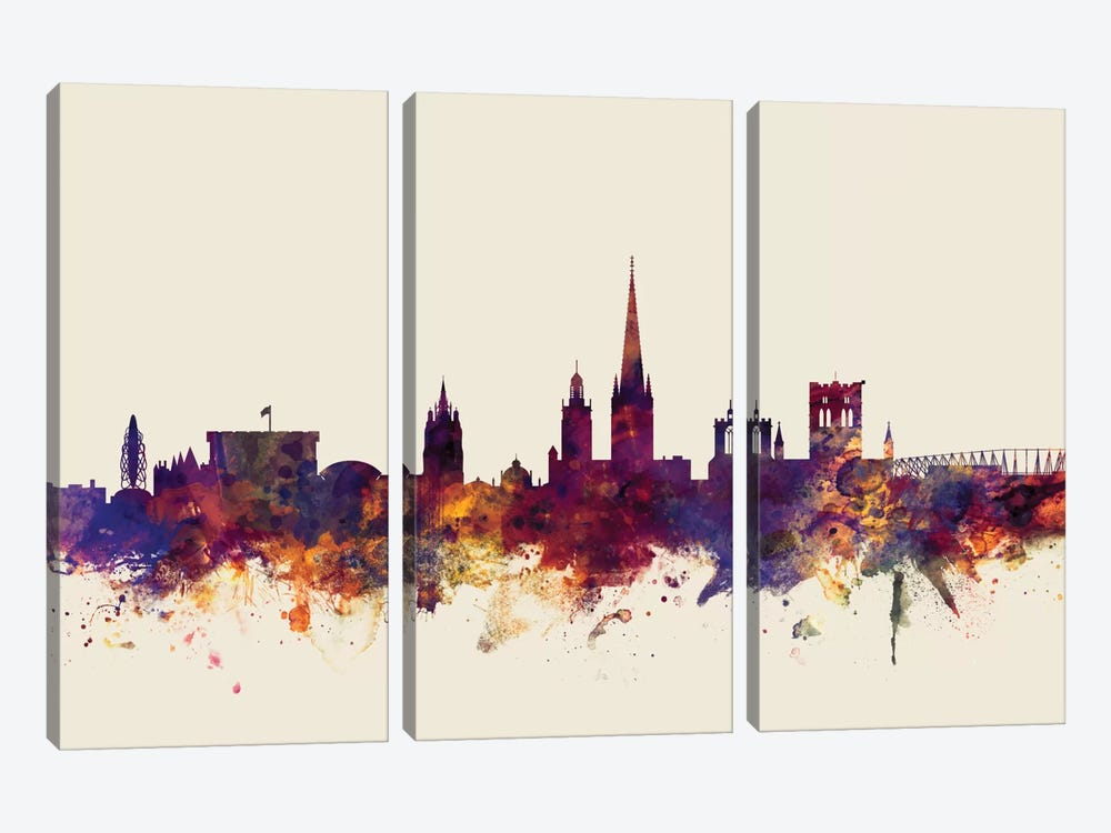Skyline Series: Norwich, England, United Kingdom On Beige by Michael Tompsett 3-piece Canvas Art Print