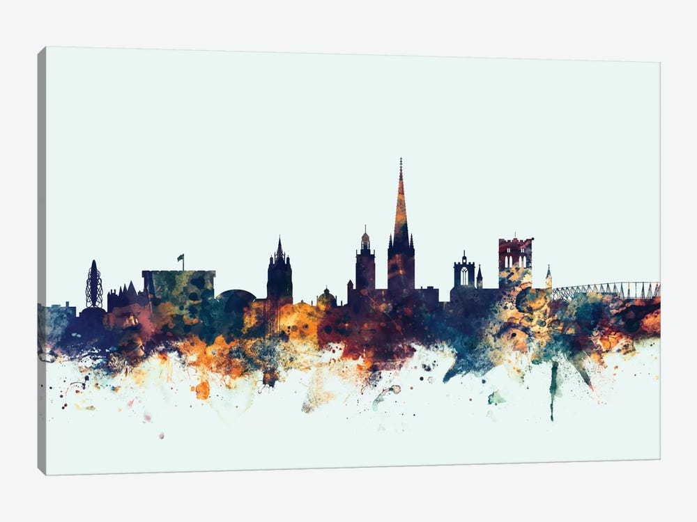 Norwich, England, United Kingdom On Blue by Michael Tompsett 1-piece Canvas Wall Art