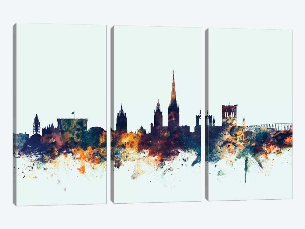 Norwich, England, United Kingdom On Blue by Michael Tompsett 3-piece Canvas Artwork