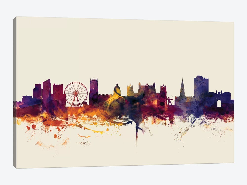 Skyline Series: Nottingham, England, United Kingdom On Beige by Michael Tompsett 1-piece Art Print
