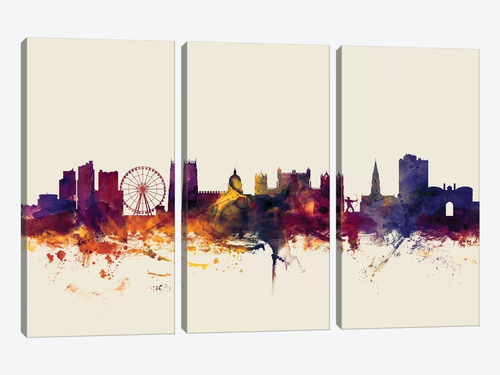 Skyline Series: Nottingham, England, United Kingdom On Beige by Michael Tompsett 3-piece Art Print