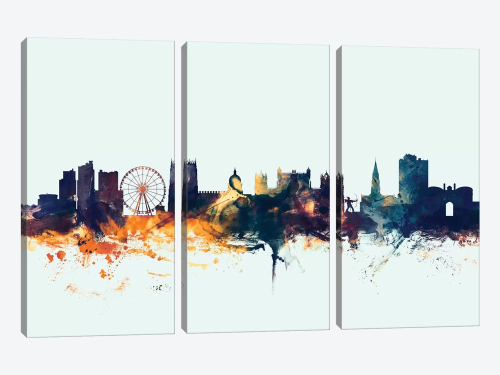 Nottingham, England, United Kingdom On Blue 3-piece Canvas Art
