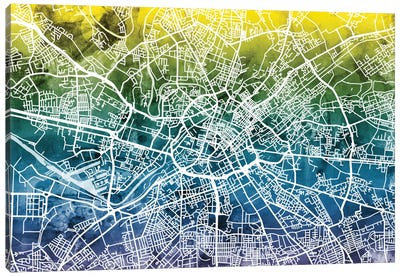 Color Gradient Urban Street Map Series: Manchester, England, United Kingdom Canvas Print #MTO36